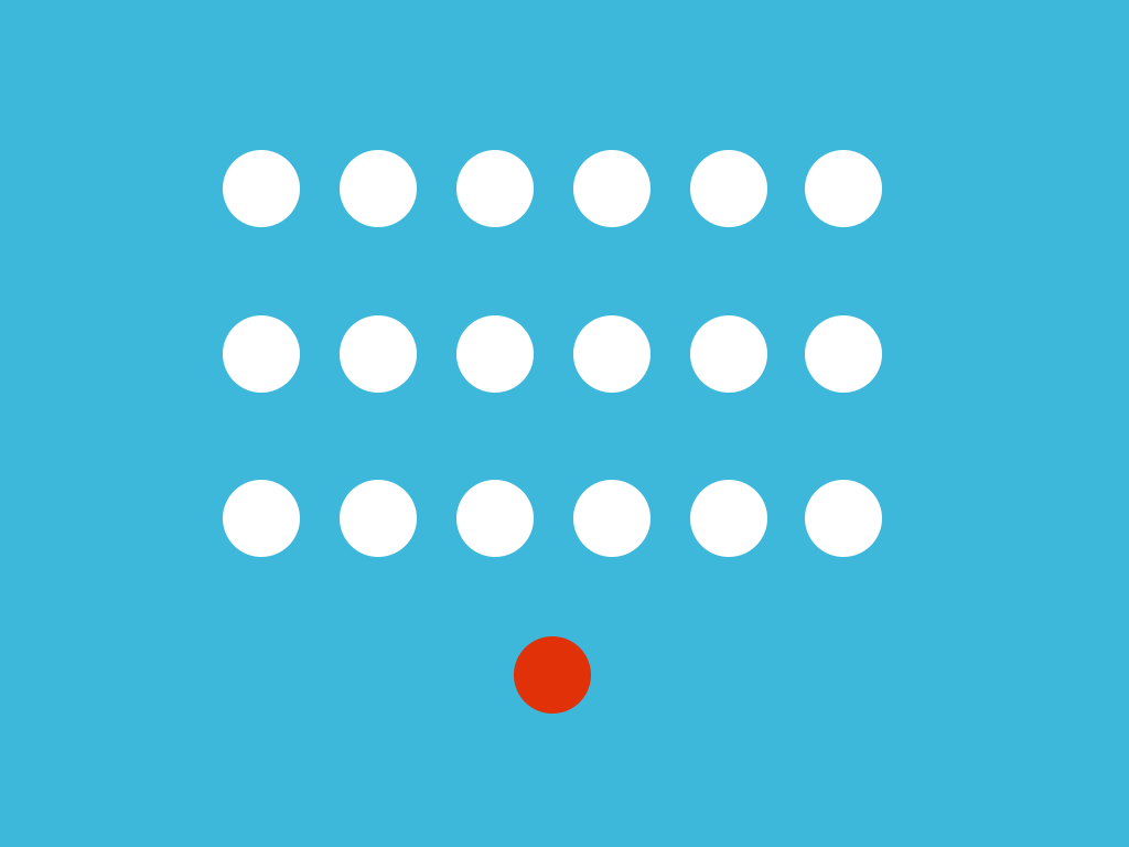 illustration: white and red dots on blue background