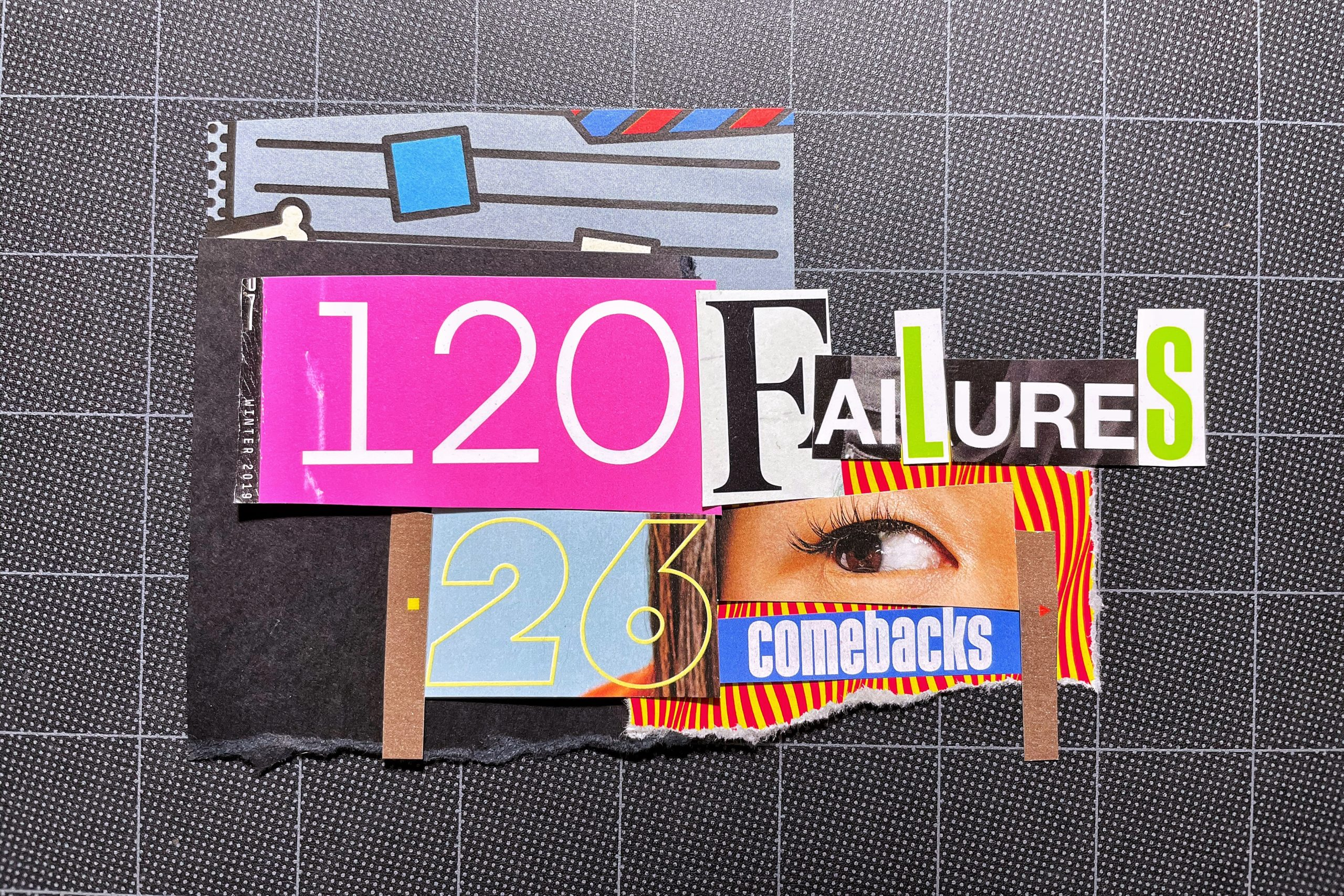 Collage artwork about failure